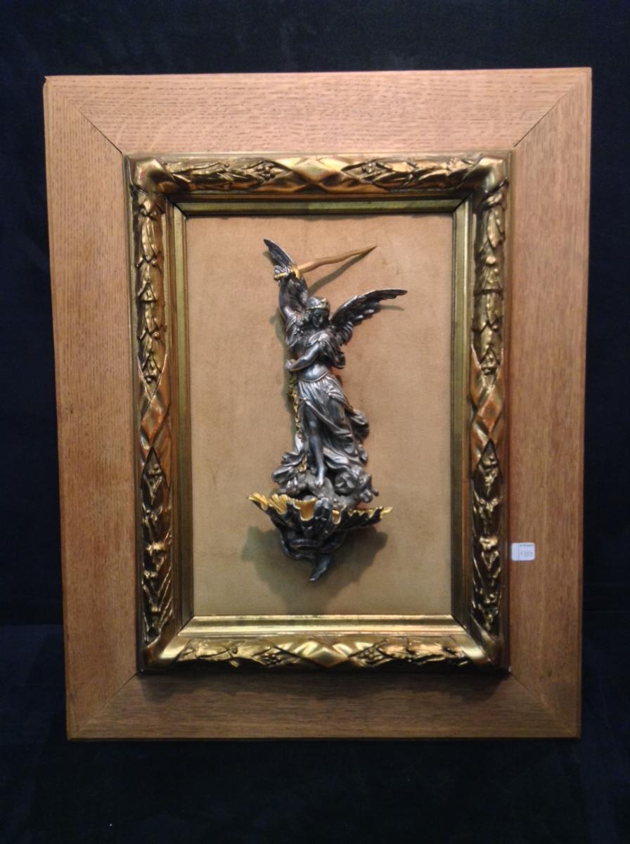 Sculpture Bronze Argenté Et Doré Bénitier Ange Saint-michel XIXe Siècle