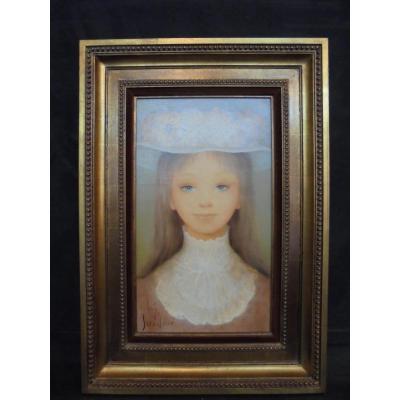 Peinture Portrait Huile Sur Toile Ségadour XXème Siècle