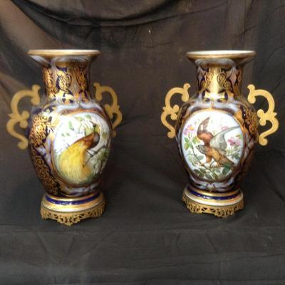 Paire De Vases De La Manufacture De Bayeux XIXème