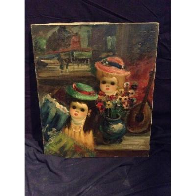 Poupée dans une boutique devant un tableau du Moulin Rouge