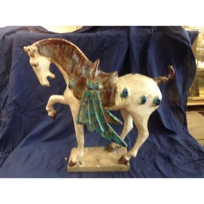 Cheval En Céramique Polychromé, Chine, XIXème