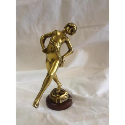 Bronze De Danseuse Sur Marbre, époque Art Déco