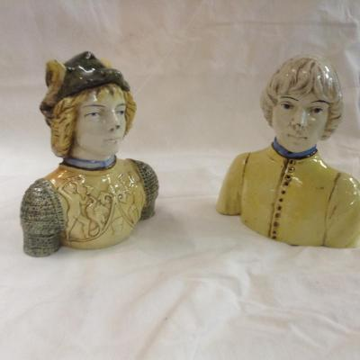 Pair Signed Busts Ceramic Style Renaissance