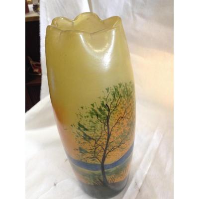 Glass Vase De Paste Painted Signed Legras