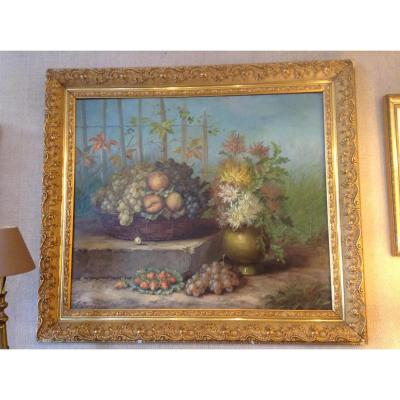 Beautiful Floral Table Signed F. Durand