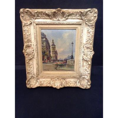 Peinture Quai De Seine Paris - Marché Aux Fleurs De Julian Brosius