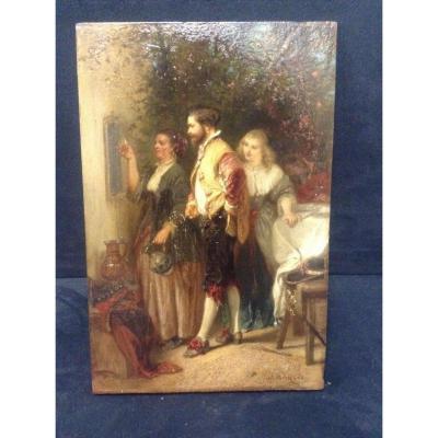 Peinture Signée Henri Charles Antoine Baron Le Quart d'Heure De Rabelais XIXe