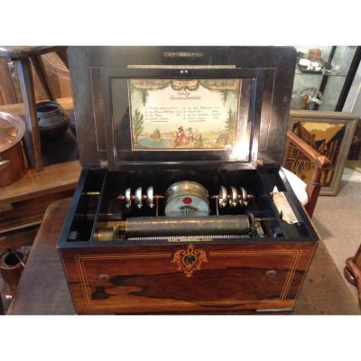 Rare Swiss Music Box Signed Ba Bremond Geneva Nineteenth Century