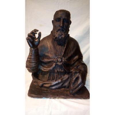 Buste reliquaire d'un Pape bénissant, époque 17è.
