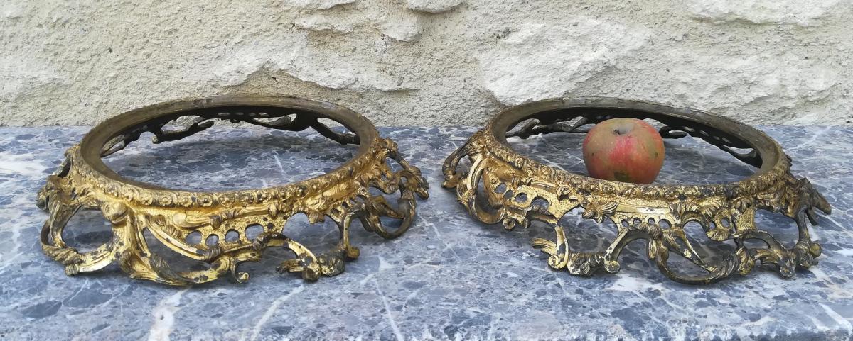 Paire De Grandes Montures  Lxv Bronze Doré