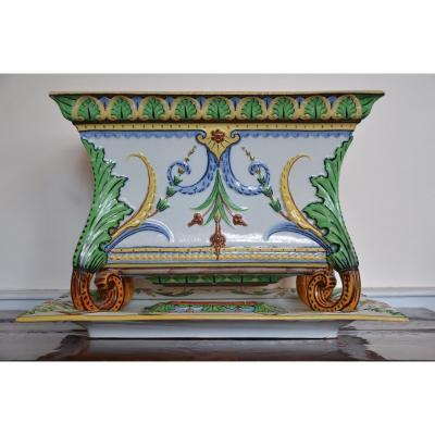 Villeroy Et Boch.jardinière And Plateau.fin The 19th Century.