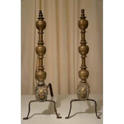 Large Pair Of Andirons.italy.seventh Century.