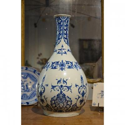 Important And Exceptional Lille Earthenware Bottle, Early Eighteenth Century.