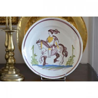 Dish To The Rider. Northern Faience, Eighteenth Century.