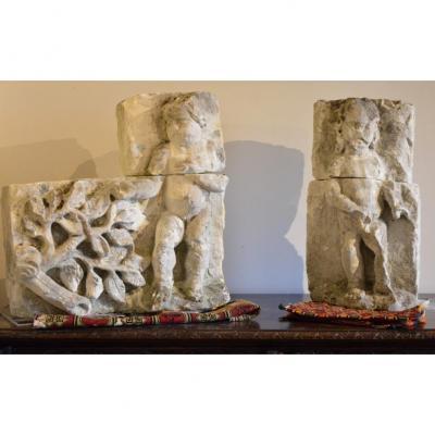 Carved Limestone Putti. Sixteenth Century.
