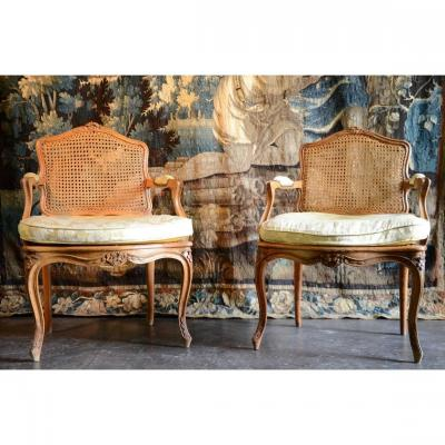 Beautiful And Elegant Pair Of Louis XV Period Armchairs.