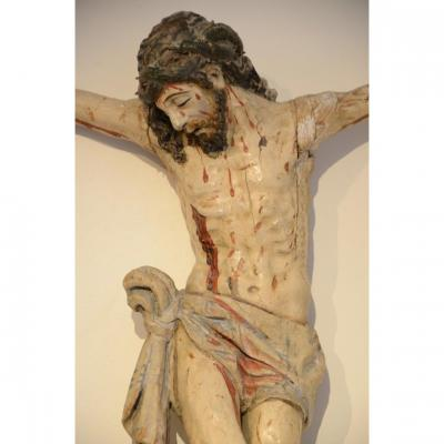 Beautiful Christ In Carved And Painted Wood. Eighteenth Century.