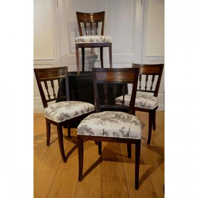 Set Of Four Elegant Directoire Period Chairs.