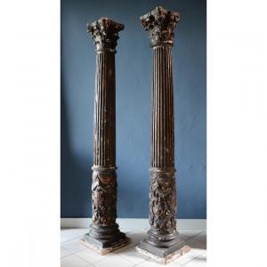 Pair Of Church Altar Columns. Beginning Of The Seventeenth Century.