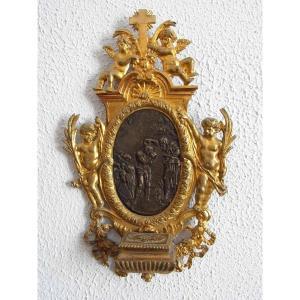 Benitier En Bronze Doré Et Patiné Figurant Le Baptème Du Christ