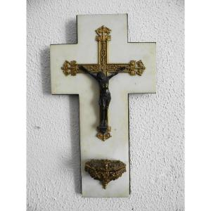 Stoup In Gilt Bronze And Patinated On Marble Cross XIXth Century