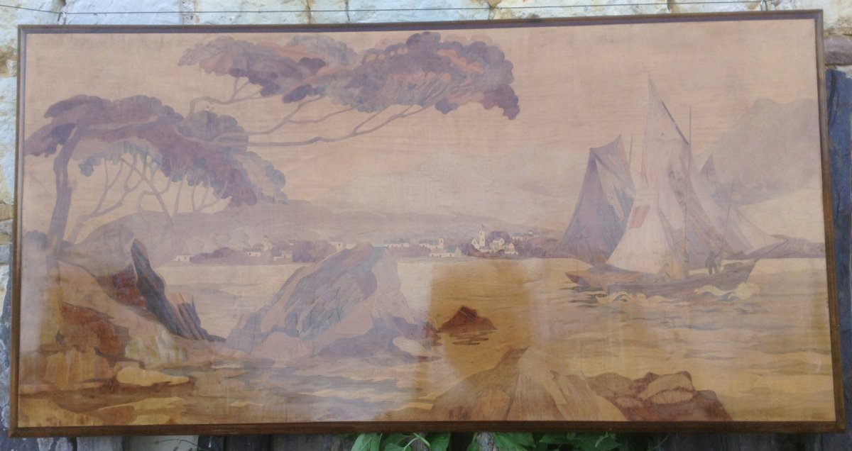 Sign In Marquetry Signed Rosenau.