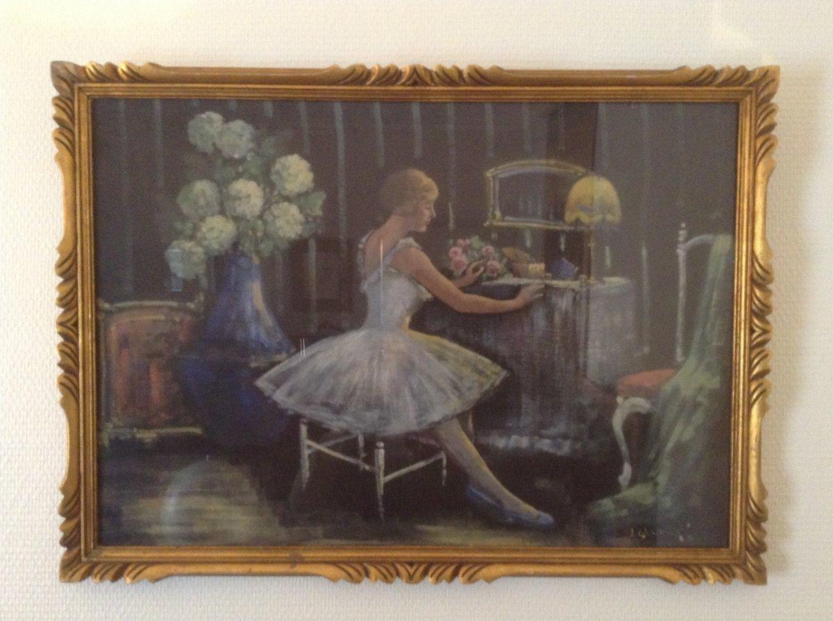 J. Chatelin- Peinture Sur Tissus Marouflée Sur Carton.