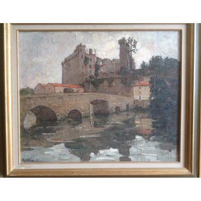 Azema-billa Marcel (1904-1999) Oil On Canvas / Clisson Le Chateau (44).