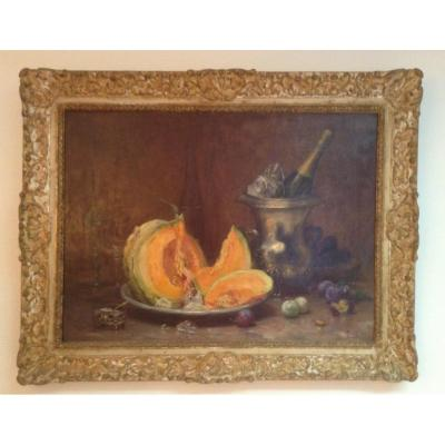 Large Still Life With Melon, Bottle Of Champagne Etc ... Alfred Magne 1855/1936.