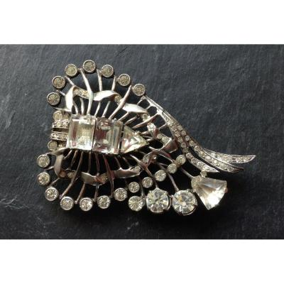 Magnificent Sterling Jewel Eisenberg Dress Clip / Important Brooch In Silver And Rhinestones Eisenberg
