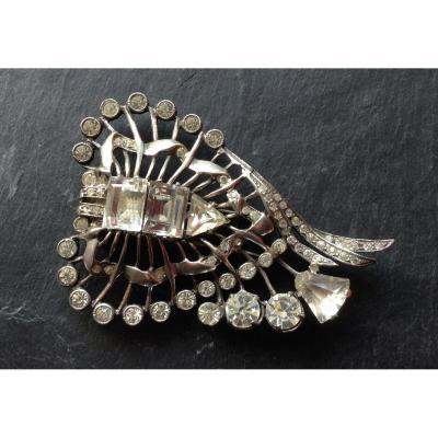 Magnifique Bijou Sterling Eisenberg Dress Clip/Broche importante en argent et strass EISENBERG