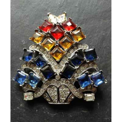 """Magnifique Bijou Eisenberg Dress Clip/Broche importante strass EISENBERG"""