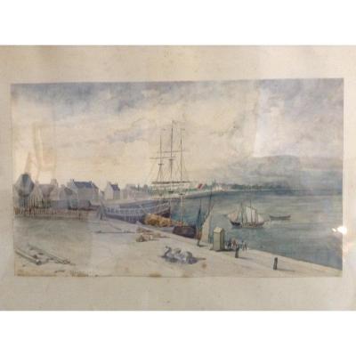 Forget Charles Gabriel (1807/1873). Aquarelle/marine.
