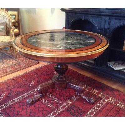 Interesting Restoration Gueridon In Mahogany And Light Wood Marquetry.
