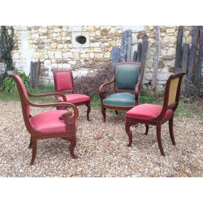 Pair Of Armchairs And Two Chairs Restoration Period Stamp Of Rochard.