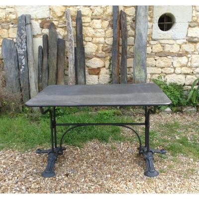 Slate And Cast Iron Tray Table.