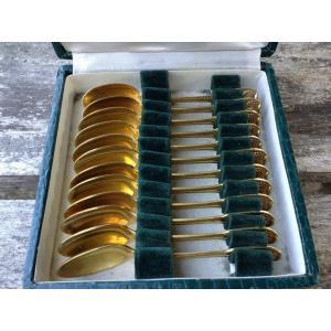 Puiforcat/ 12 Petites Cuillères Vermeil Modèle Filet/coquille