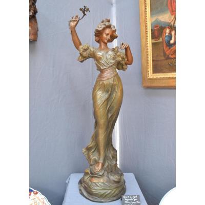 """""""marguerite"""" Importante Sculpture Signée J. Flora en régule"""