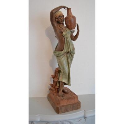 """Sculpture En Terre Cuite """"porteuse d'Eau"""" Friedrich Goldscheider (1845-1897)"""