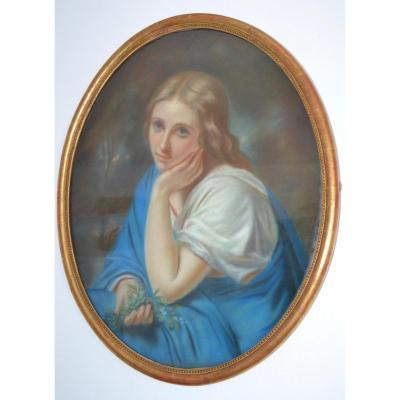 """Pastel """"jeune Femme Romantique"""" Cachet Durand-ruel, 1 Rue De La Paix à Paris"""