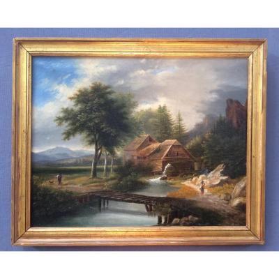 Huile Sur Toile Ecole Autrichienne Paysage De Montagne XIXème