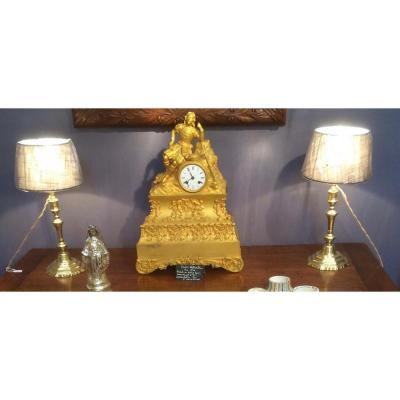 Paire De Flambeaux Bougeoirs En Bronze Montés En Lampe Louis XIV