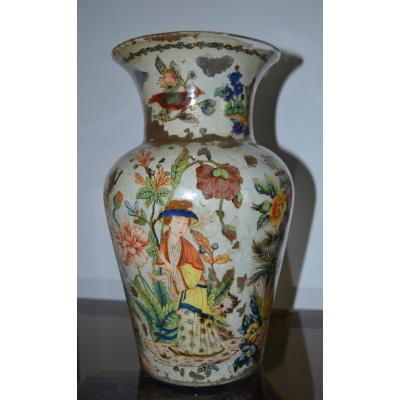 Vase En Verre Soufflé De Venise églomisé à Décor Chinois époque Napoléon III