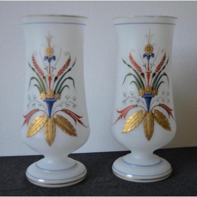 Paire De Vases En Opaline à Décor Empire émaillé Et Or Fin