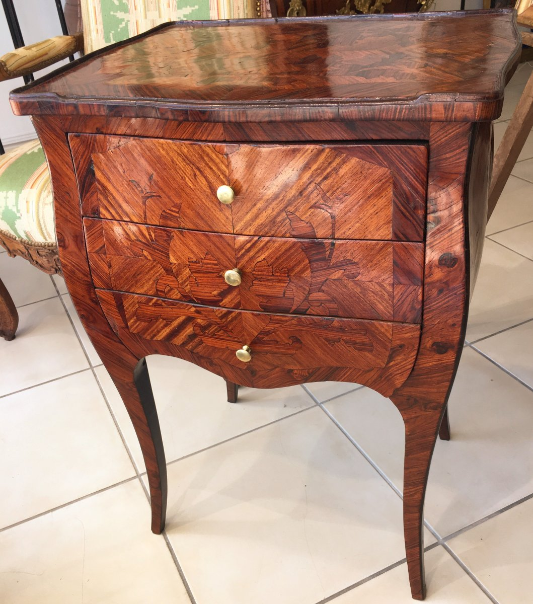 Small Louis XV Style Table In Marquetry