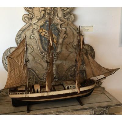 Belle maquette de trois-mâts Epoque XIXème Siècle