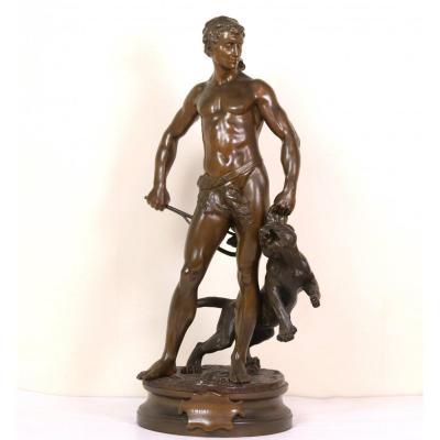 """Grand groupe en bronze """"Le Belluaire"""" par Adrien-Etienne Gaudez. Gladiateur et tigre."""