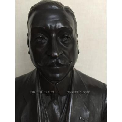 Autoportrait  En Bronze D'Auguste Carli