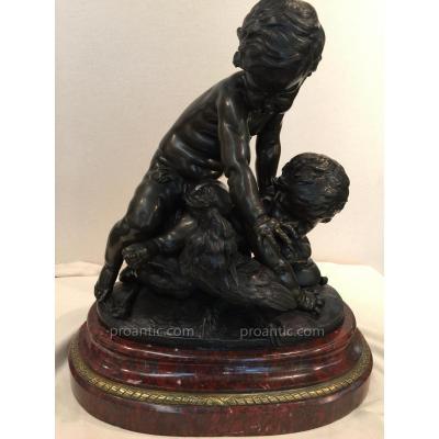 Bronze Animé Bébés Et Coq