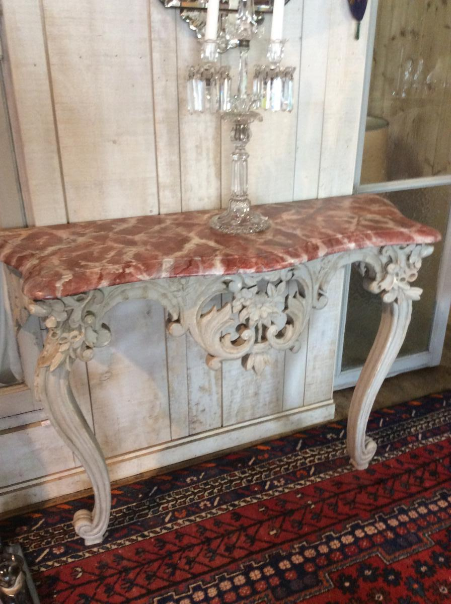 Console Louis XV In Walnut Wall, Grey Patina, Faux Marble